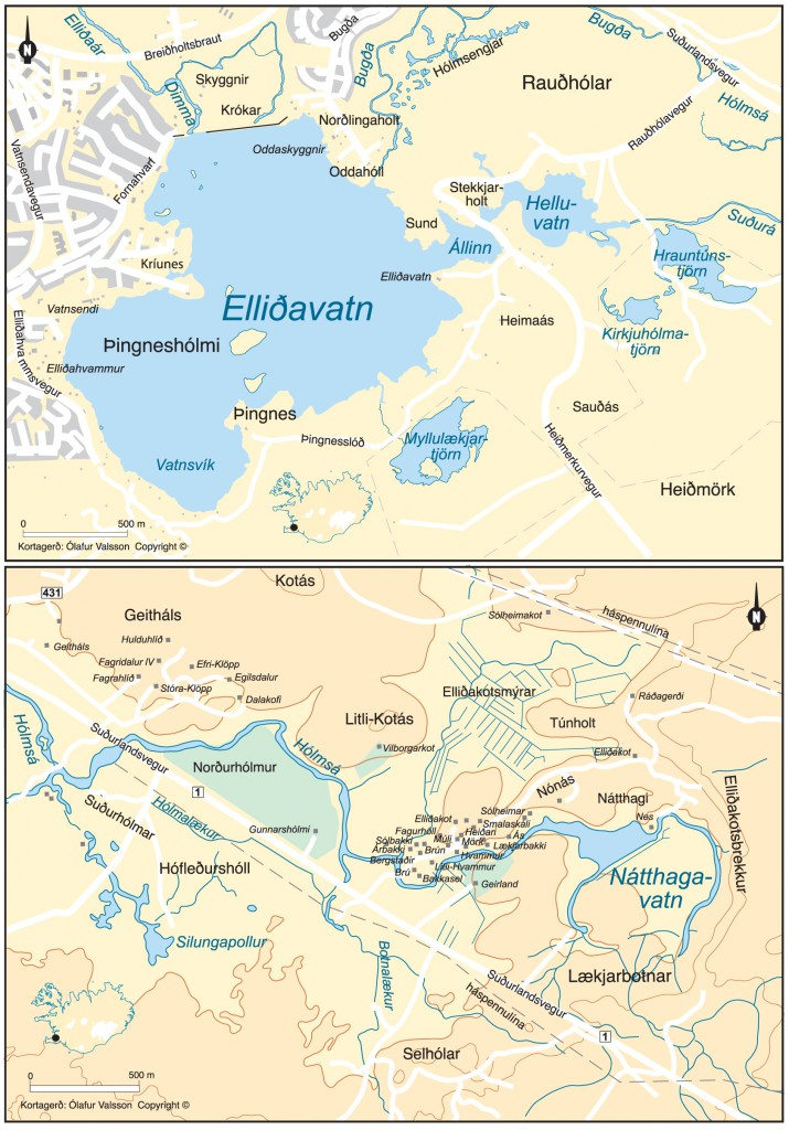 Kort af Elliðavatni